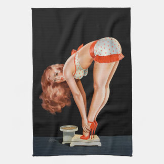 Funny retro pinup girl on a weight scale tea towel
