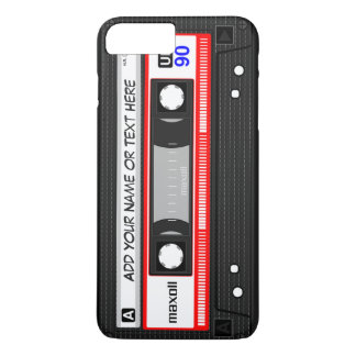 Funny Retro Red Music Cassette Tape Pattern iPhone 8 Plus/7 Plus Case