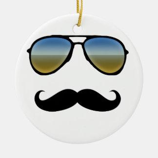 Funny Retro Sunglasses with Moustache Ceramic Ornament