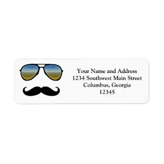 Funny Retro Sunglasses with Moustache Return Address Label