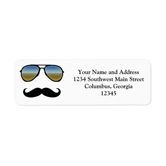 Funny Retro Sunglasses with Moustache Return Address Label