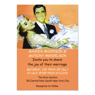 Funny retro vintage bride and groom card