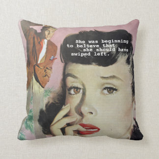 Funny Retro Vintage Gift for Single Dating Girl Throw Pillow