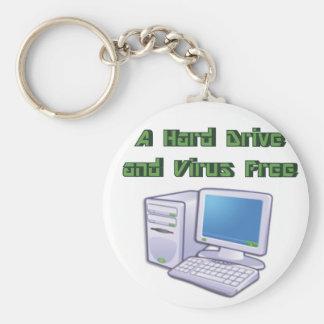 Funny Retro Virus Free Computer Geek Nerd Key Ring