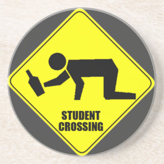 Funny Road Sign - Drunk Student Crossing Sandstone Coaster