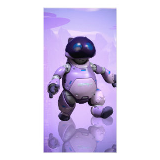 Funny robot cat personalized photo card