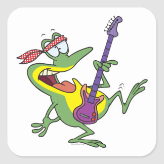 funny rock and roll bass guitar froggy frog square sticker