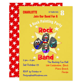 Funny Rock Band Rock Painting Party Card