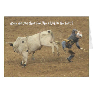 Funny Rodeo Over the Hill Birthday, Bull Rider Card
