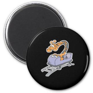 funny roller coaster giraffe 6 cm round magnet