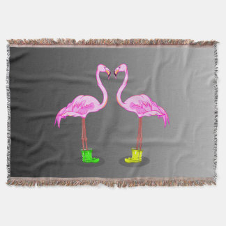 Funny Romantic Pink Flamingos Wearing Boots