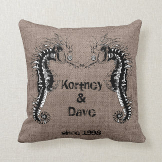 Funny Romantic Seahorse Lobster Burlap Beach Weddi Throw Pillow