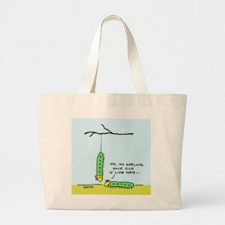 Funny Romantic Silkworm Caterpillars Cartoon Large Tote Bag