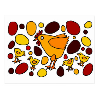 Funny Rooster and Chickens Art Abstract Postcard