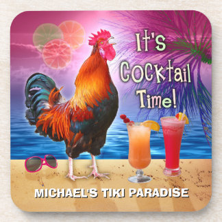 Funny Rooster Chicken Cocktail Tropical Beach Name Coaster