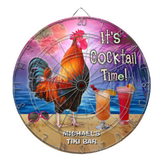Funny Rooster Chicken Cocktail Tropical Beach Name Dartboards