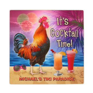 Funny Rooster Chicken Cocktail Tropical Beach Name Wood Coaster