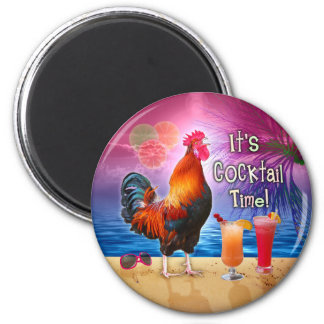 Funny Rooster Chicken Cocktails Tropical Beach Sea 6 Cm Round Magnet