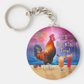 Funny Rooster Chicken Cocktails Tropical Beach Sea Basic Round Button Key Ring