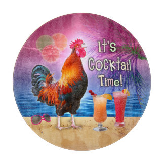 Funny Rooster Chicken Cocktails Tropical Beach Sea Cutting Board