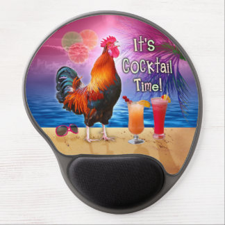 Funny Rooster Chicken Cocktails Tropical Beach Sea Gel Mouse Pad