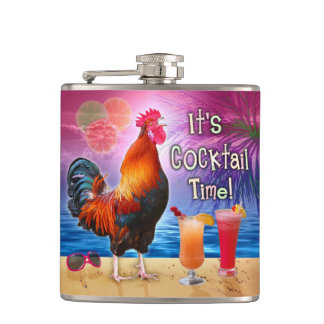 Funny Rooster Chicken Cocktails Tropical Beach Sea Hip Flask