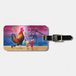 Funny Rooster Chicken Cocktails Tropical Beach Sea Luggage Tag
