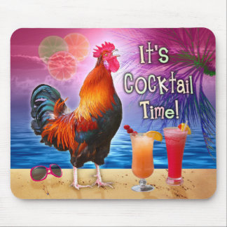 Funny Rooster Chicken Cocktails Tropical Beach Sea Mouse Pad