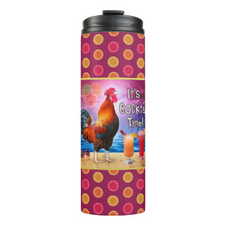 Funny Rooster Chicken Cocktails Tropical Beach Sea Thermal Tumbler