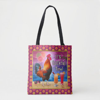 Funny Rooster Chicken Cocktails Tropical Beach Sea Tote Bag
