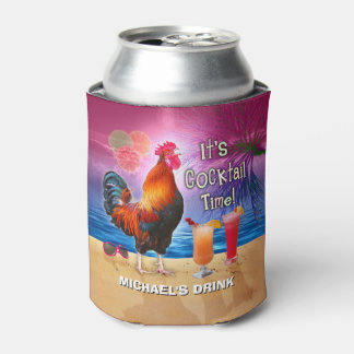 Funny Rooster Chicken Drinking Tropical Beach Name Can Cooler