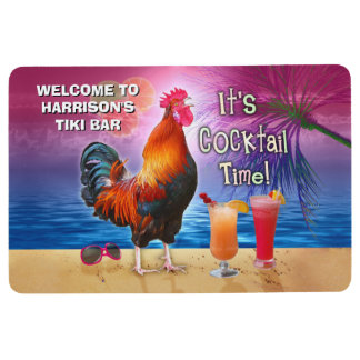 Funny Rooster Chicken Drinking Tropical Beach Name Floor Mat