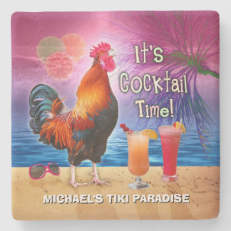Funny Rooster Chicken Drinking Tropical Beach Name Stone Coaster