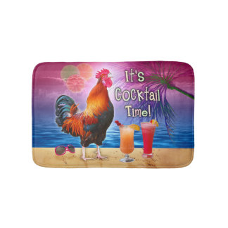 Funny Rooster Chicken Drinking Tropical Beach Sea Bath Mat