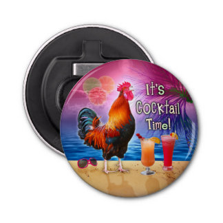 Funny Rooster Chicken Drinking Tropical Beach Sea Bottle Opener