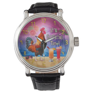 Funny Rooster Chicken Drinking Tropical Beach Sea Watch