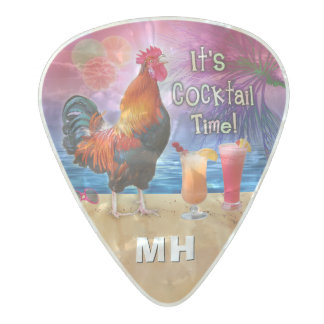 Funny Rooster Chicken Tropical Beach Monogrammed Pearl Celluloid Guitar Pick