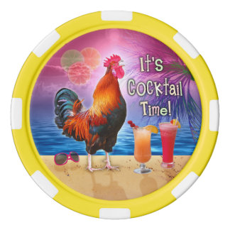 Funny Rooster Drinking Tropical Beach Sea | Custom Poker Chips