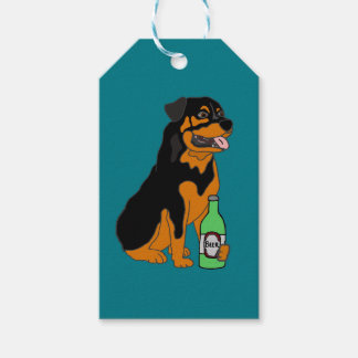 Funny Rottweiler Dog Drinking Beer Cartoon Gift Tags