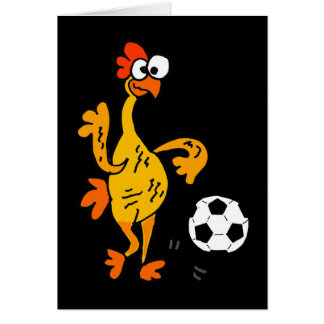 Funny Rubber Chicken Playing Soccer Cartoon Card