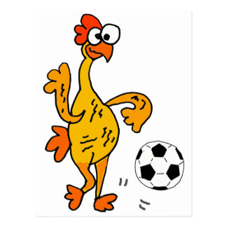 Funny Rubber Chicken Playing Soccer Cartoon Postcard