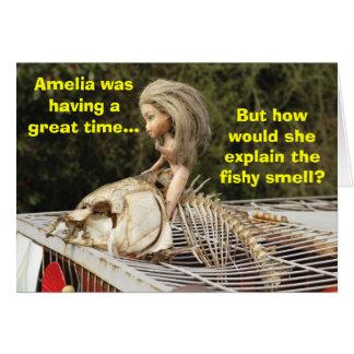 Funny & Rude Doll Riding A Dead Carp Fish, Card.