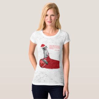 Funny Rude Pinup Santa Ladies Xmas Burnout T-shirt