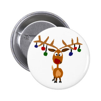 Funny Rudolph Red Nosed reindeer Christmas Art Pinback Button