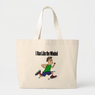 Funny Runner Dude Cartoon Large Tote Bag