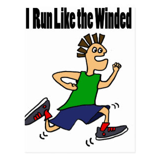 Funny Runner Dude Cartoon Postcard