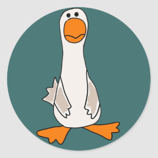 Funny Sad Goose Cartoon Classic Round Sticker