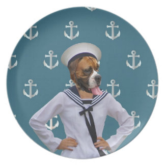 Funny sailor dog character plate
