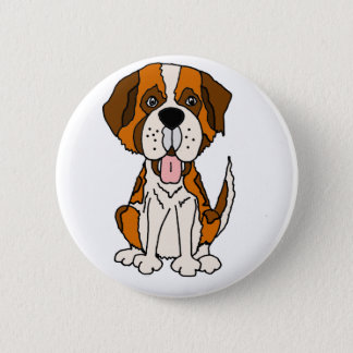 Funny Saint Bernard Puppy Dog Art 6 Cm Round Badge