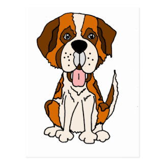 Funny Saint Bernard Puppy Dog Art Postcard